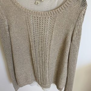 Lucky Brand New Beige sweater with shirt Sz  L